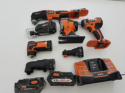 AEG 18v 7 Piece Kit with 2 Batteries and Charger - Most are new