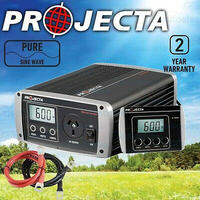 Projecta  Power Inverter Ip600 Pure Sine Wave 600W 12V  12 Volt Car Dc To Ac New