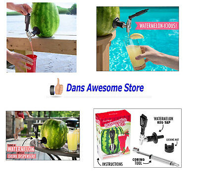Watermelon Pumpkin Fruit Keg Tap Shank Kit Drink Cocktail Dispenser Picnic Party