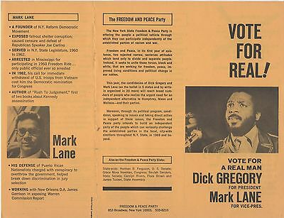 1968 DICK GREGORY FREEDOM AND PEACE PARTY 2-sided Flier Flyer CAMPAIGN HANDOUT