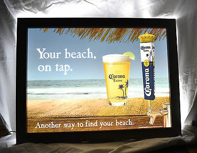"Corona Extra Your Beach, On Tap Wood Frame 29"" X 22"" Led Light Sign New"