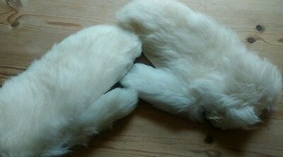 vintage fur gloves/mittens size 8,winter white Ges gesch made in Western Germany