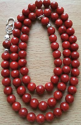 """925 Silver Vintage Dark Red Coral Necklace With. 18"""" Long."""