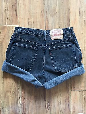 Vintage LEVI'S 551 Black Gray High Waisted Shorts Size 12 Cut Off Denim Jeans