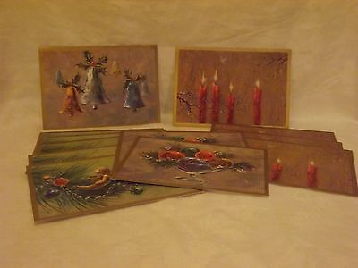 Vintage Christmas Cards*Coronation*13 Unused Cards*Angels*Ornaments*Bells*Candle
