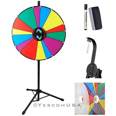 "24""  Dry Erase Floor Color Prize Wheel Unequal Slot Height Adjust Tripod Stand"