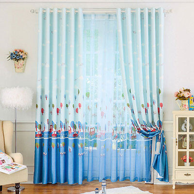 Go On Outing Blue Blockout Printing Curtains Custom Made Sheer Drape Kids Room
