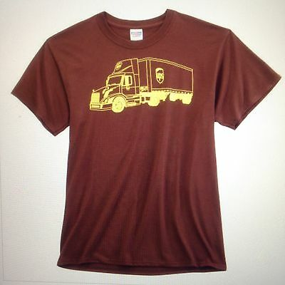 New Xl United Parcel Service Feeder Delivery Truck Tee Shirt Cotton Chocolate