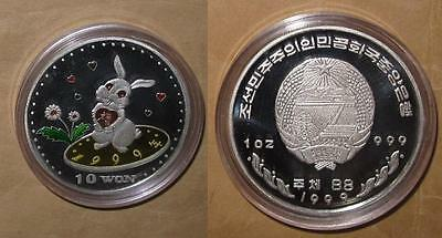 "1999 Korea $10 WON Year of RABBIT PROOF Color SILVER coin ""RARE"" & ""SCARC"""