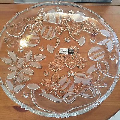 NEW in Box Mikasa Christmas Large Round Glass Platter Shallow Bowl 38cm