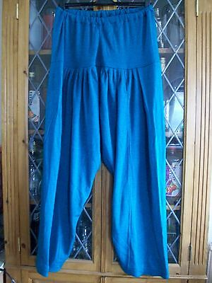 Teal Knitted Shalwar Trousers Elastic Waist Uk10-12 **gc**