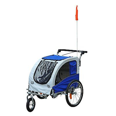 2 In 1 Damping Pet Carrier Dog Bicycle Trailer Travelling Cargo 360° Rotatable