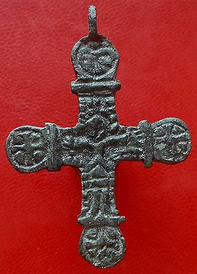Byzantine ancient bronze pendant cross of 8-10 century AD