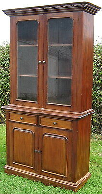 20th Century Solid Hardwood Victorian Style Cabinet Bookcase