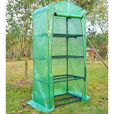 """28""""×20""""×63"""" Portable Durable Garden Greenhouse W/ 4-Tier Shelves Plant Shed"""