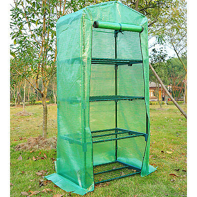 "63"" 4-Tier Portable Warm Greenhouse Winter Gardening House Plant Shed W/ Shelves"