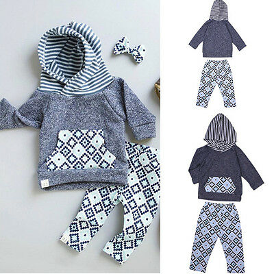 2X Newborn Infant Baby Stripe Print Hooded Cotton T-shirt + Pants Outfits Set