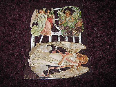 Vintage Style Die Cut  Paper Scraps  Glitter Angels And Cherubs