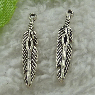 free ship 220 pcs tibet silver Indian feather charms 27x5mm #3433