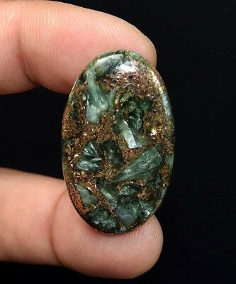 Unusual !  29.10 Cts. Natural Copper Seraphinite Cab For Sterling Silver Pendant