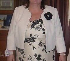 Jacques Vert Cream Jacket with black flower brooch