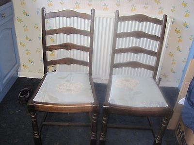 Vintage 1950's Pair Of Matching Wooden Chairs Shabby Chic Project