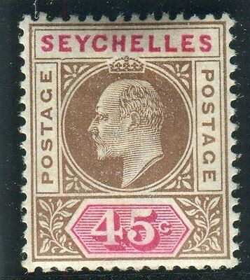 "SEYCHELLES-1903 45c Brown & Carmine ""DENTED FRAME"" superb unmounted mint Sg 53a"