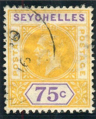 """SEYCHELLES-1912-16 75c Yellow & Violet """"SPLIT A"""" very fine used steel cds Sg 73a"""
