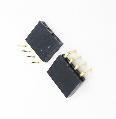 20PCS 1x4Pin Header Right Angle Female Single Row Socket Connector 2.54mm Pitch