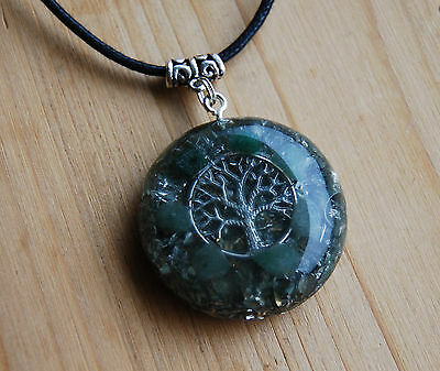 Orgonite Pendant Necklace Tree of Life with green Aventurine