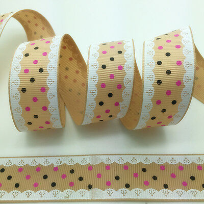"NEW~ 5 yds 1"" 25mm Printed Grosgrain Ribbon Hair Bow DIY Sewing #A058"