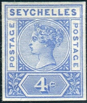 SEYCHELLES-1890-1900 4c Blue.  A fine mounted mint 4 margin example