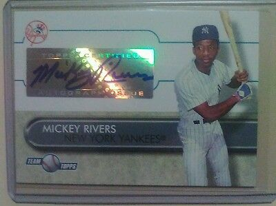 2006 topps auto card of mickey rivers. New York Yankees.