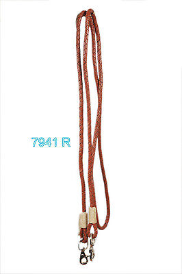 Western Softy Braided Leather Roping Reins With Steel Trigger Snaps