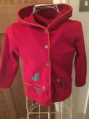 Marks & Spencer Age 6-7 Red Bird Embroidery Fleece Jacket Hoodie