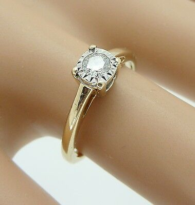 9ct Gold Genuine Diamond .18pt Solitaire Ring Size i   Bargain £89.99. NICE1