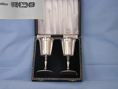 A Pair Of Vintage English Sterling Silver Goblets .