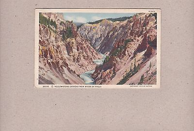 Vintage Postcard Yellowstone National Park Canyon From Brink Of Falls 1939
