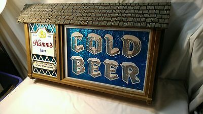Vintage Hamms Cold Beer Tin Foil Born In The Land of Sky Blue Waters Sign LARGE
