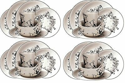 16PC Dinner Set Plates Bowls Mugs Crockery Dinnerware Service for 4 Dining Sets