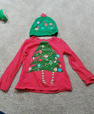 Girls next christmas top and hat set 3-4