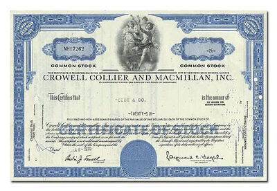 Crowell Collier and Macmillan, Inc. Stock Certificate