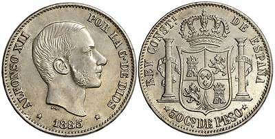 Philippines, Alfonso XII, 50 Centimos 1885, 001
