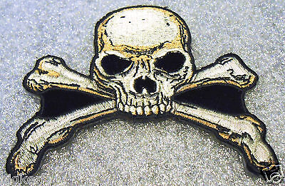 """Skull & Cross Bones - Embroidered  Patch   """"shirt - Jacket - Vest""""   Sew Or Iron"""