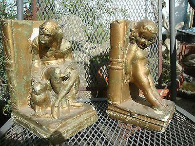 Two Vintage Chalkware Bookends