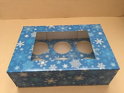 10 Quality Blue Snow Flake Christmas Cupcake Boxes With Matching Inserts 6 Cup