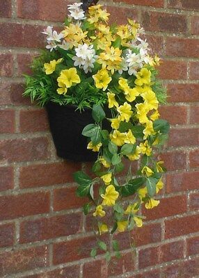 W/1 (Greenwoods)  New Garden Wall Artificial Hanging Basket & Flowers ( Yellow )
