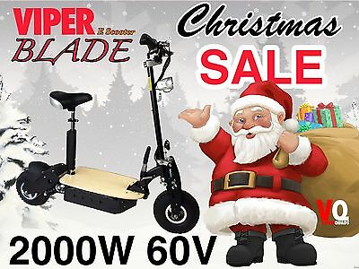 Electric Scooter 2000W 60V Viper Blade New 2017 Model, Terrain Tyres, 70KPH.