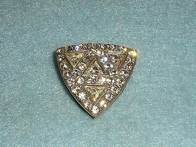 "Fine ART DECO Period DIAMANTE/ PASTE ""Shield"" Shape DRESS CLIP Maked FRANCE"