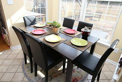 7pc Espresso Dining Room Kitchen Set Table 6 BLACK LEATHER Parson Chairs 7 piece